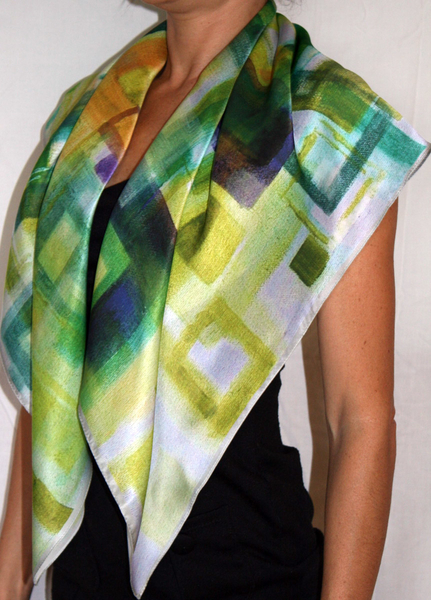 Green Leaves Silk Scarf